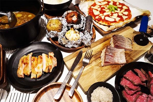 薪グランピングプランのお料理は、色鮮やかで、食欲をそそります!